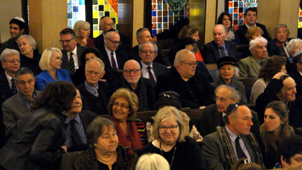 Guests at the memorial, including Antony Copley and Richard Gott