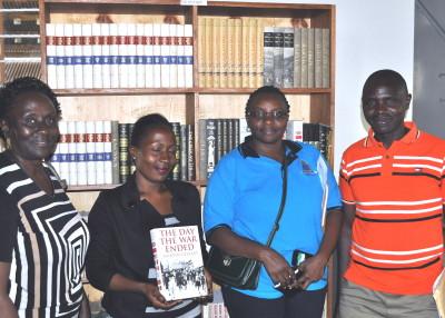 In the photo  from left to right Harriet Ntege - acting university librarian at Kyambogo University.  Diananatu Kundagt from  Pentecostal University, Mary Nabbosa - senior librarian from Kyambogo university, Paul Ngabirano Librarian from Kyambogo University