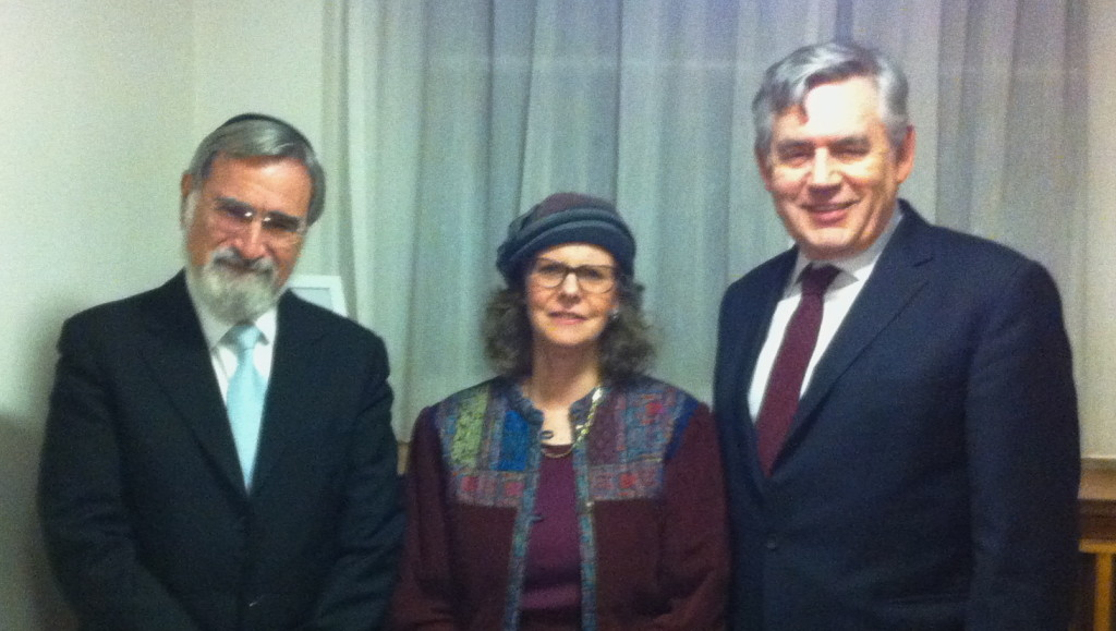 Rabbi Lord Jonathan Sacks, Lady Gilbert, the Rt Hon Gordon Brown