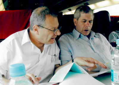 Martin and Max, consulting the map of their journey, June 2003
