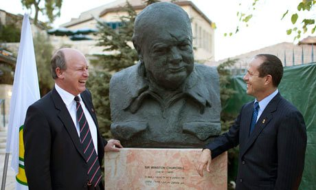 Great-grandson Randolph Churchill with Jerusalem Mayor Nir Barkat at the unveiling of an Oscar Nemon bronze bust of Winston Churchill at Mishkenot Sha'ananim, Jerusalem, 4 November 2012; Photograph:  Abir Sultan, EPA