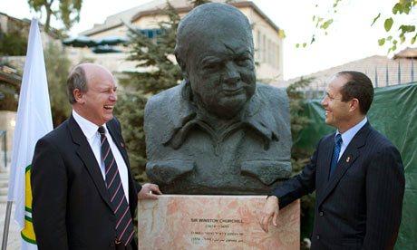 Great-grandson Randolph Churchill with Jerusalem Mayor Nir Barkat at the unveiling of an Oscar Nemon bronze bust of Winston Churchill at Mishkenot Sha'ananim, Jerusalem, 4 November 2012; Photograph:  Abir Sultan, EPA