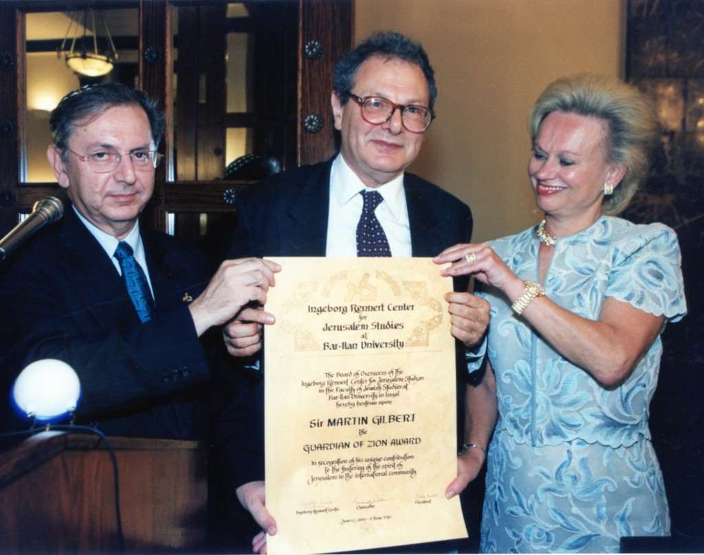12 June 2000, Guardian of Zion Award, Ingerborg Rennert Centre for Jerusalem Studies, Bar-Ilan University, Israel.   Photo: Jonathan Reif