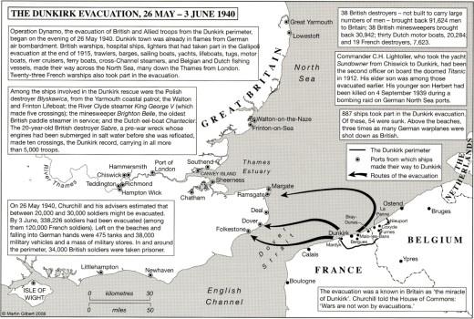 map - The Dunkirk Evacuation